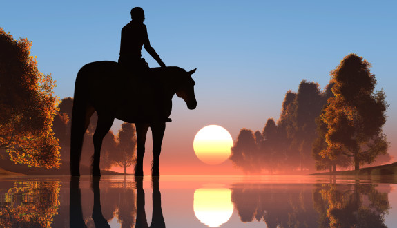 Silhouette of a man on a horse.