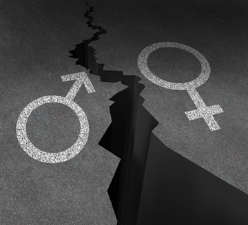 Gender gap and sex inequality concept as a male and female symbol painted on an asphalt road that is cracked in two as a metaphor for pay or wages inequity or divorce.