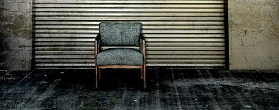 Metal Door And Single Chair Retro Photoart Grunge